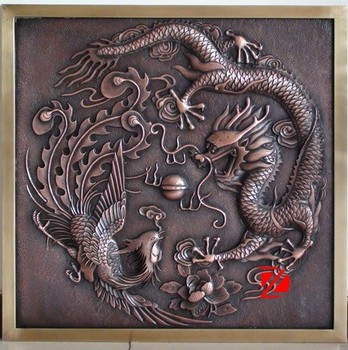 Incroyable Copper Chinese Dragon Relief Wall Art Decoration