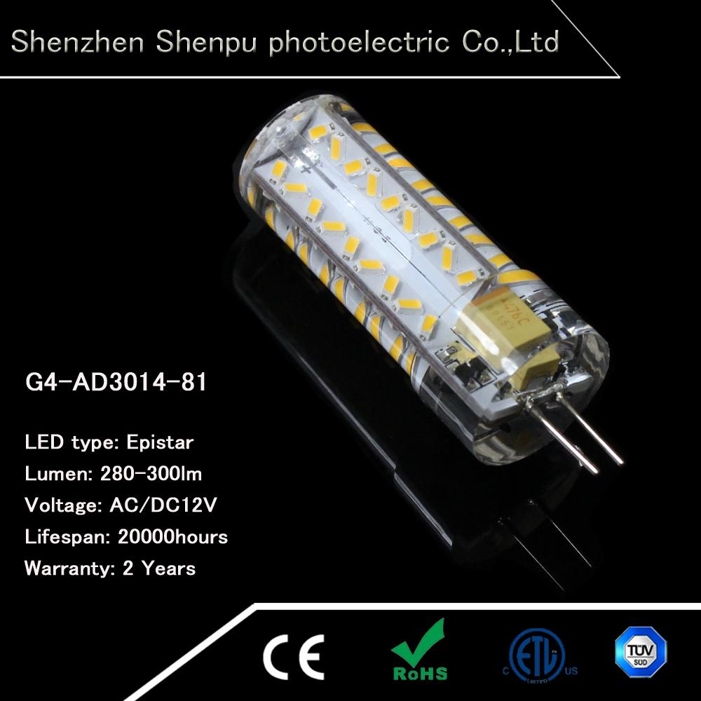 G4 3.5 W luci LED AC/DC 12 V 81SMD ha condotto la luce G4 280-300lumen-Luci di lampadina del LED ...