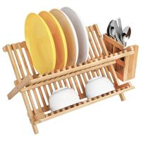 Bamboo Folding 2-Tier Dish Drying Rack With Utensils Flatware Holder Set