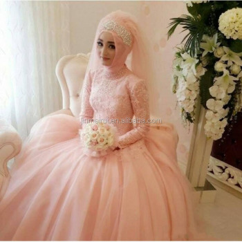 Muslim wedding dresses with sleeves vestido de noiva arabic light muslim wedding dresses with sleeves vestido de noiva arabic light pearl pink peach bridal gown high junglespirit Choice Image