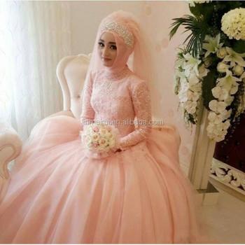 Árabe Musulmán Mangas Con vestido Perla Vestidos Novia Luz Boda De PXiukZ