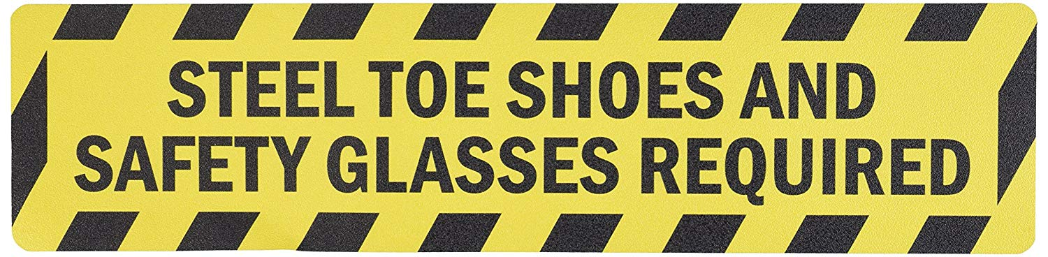 "SmartSign Anti-Slip Adhesive Floor Sign, Legend ""Steel Toe Shoes and Safety Glasses Required"", 6"" tall x 24"" wide, Black on Yellow"