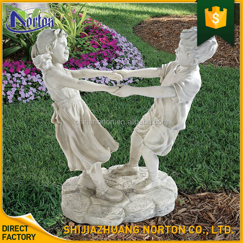 garden deco imitation stone sculpture dancing kids resin NT-FSY079
