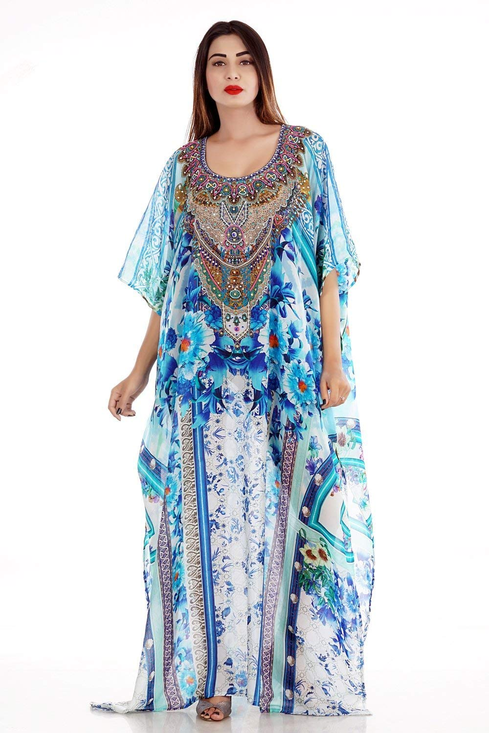 Get Quotations Beach Kaftan Dress For Woman Beaded Wear One Piece Jeweled Full Length