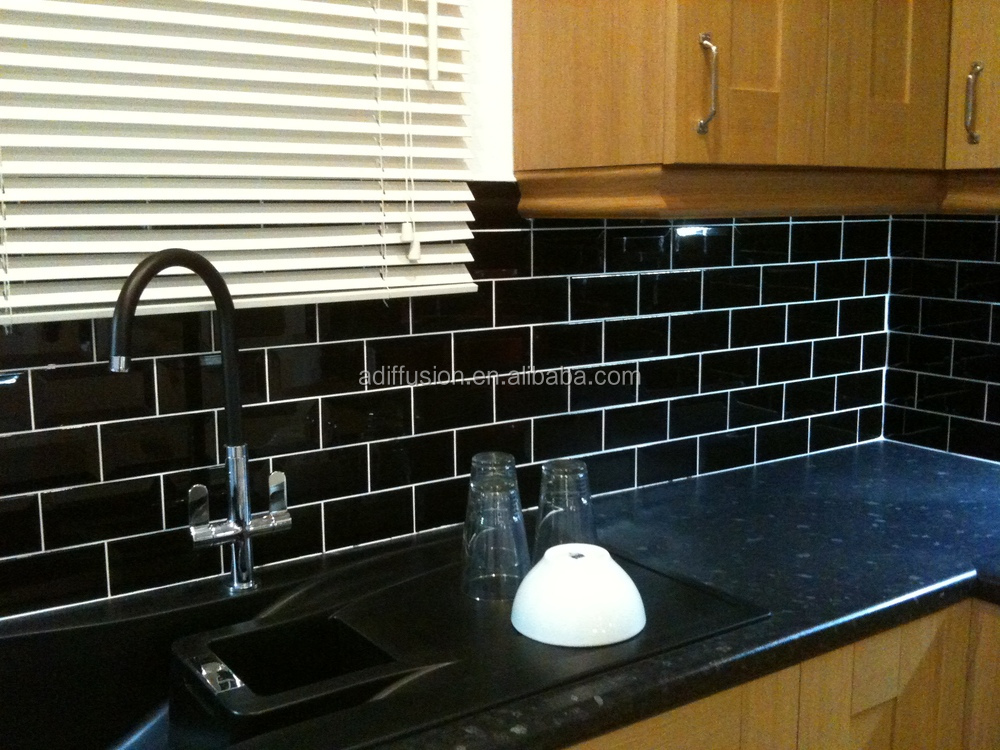 Black Beveled Subway Tiles 7 5x15cm 3x6 Inch