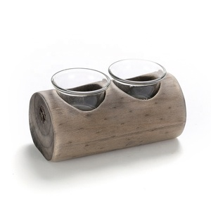 Votive Tea Light Candle Holder with 2 Glass Plant Wooden Pot
