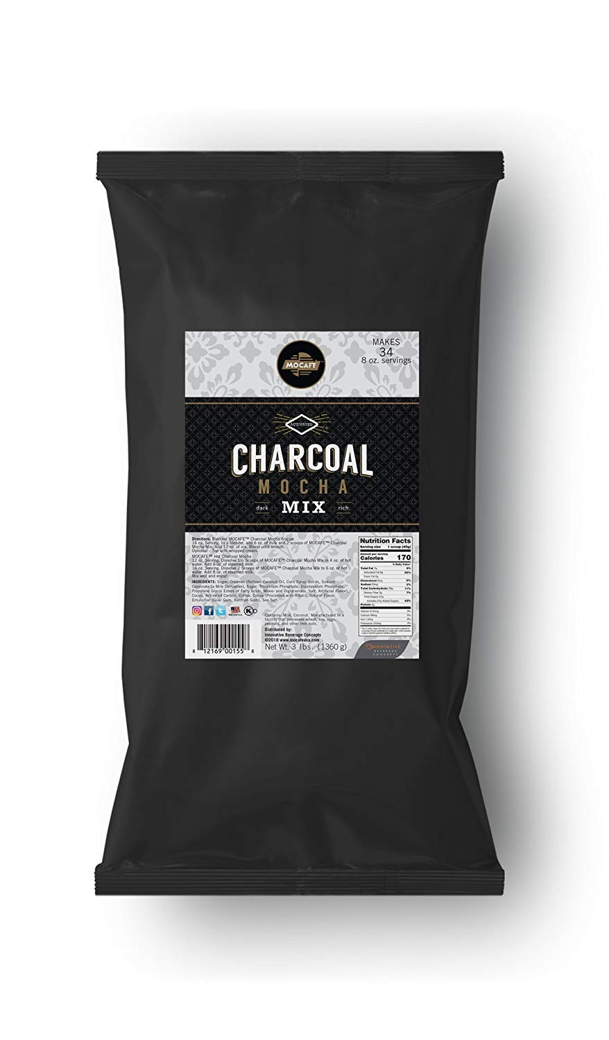 MOCAFE Charcoal Mocha Mix, 3-Pound (4 Count) Instant Frappe Mix, Coffee House Style Blended Drink Used in Coffee Shops