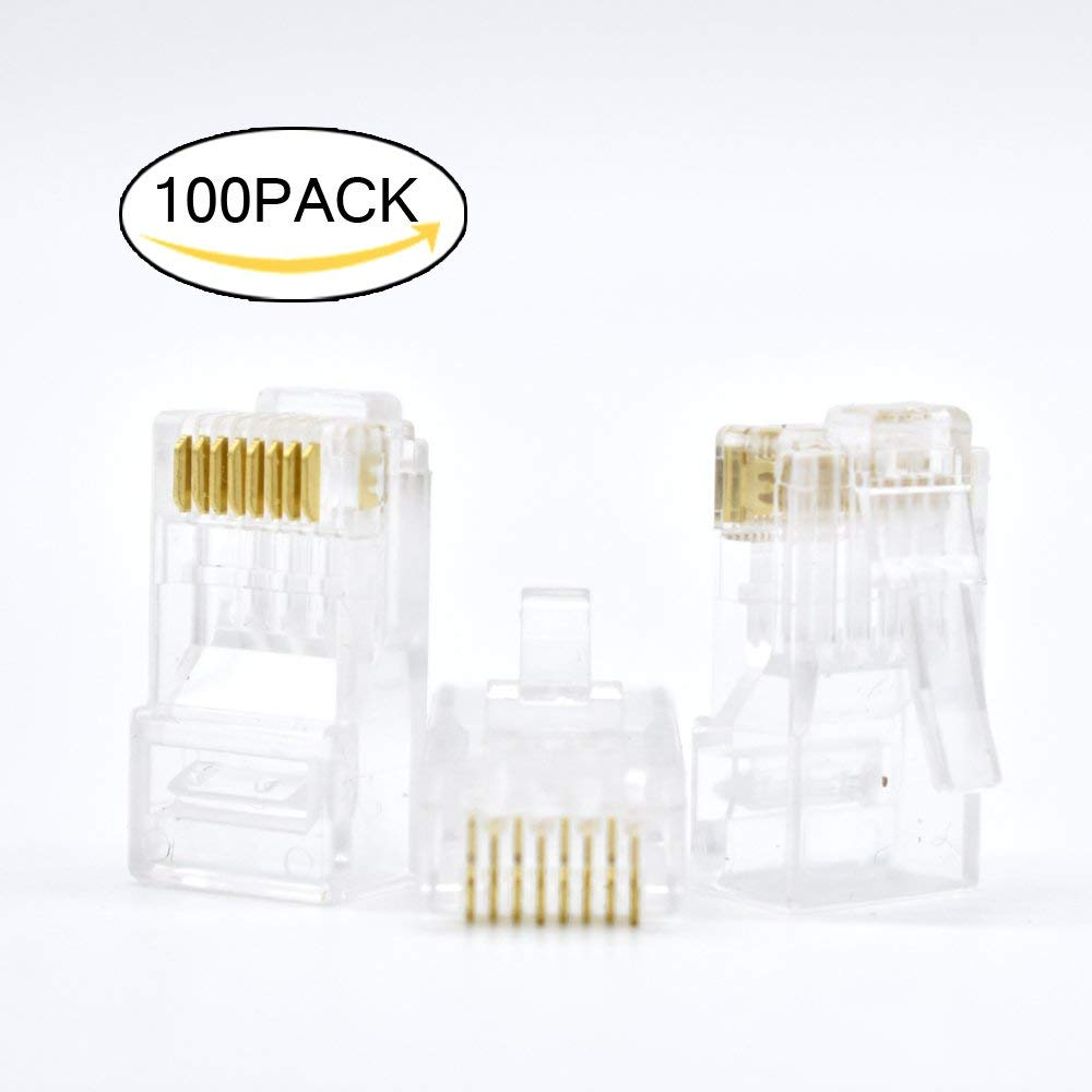 RJ45 Connectors RJ45 Crimp Ends 8P8C UTP Network Plug for CAT5 CAT5E CAT6 Stranded Cable Solid Crystal Head 100PCS