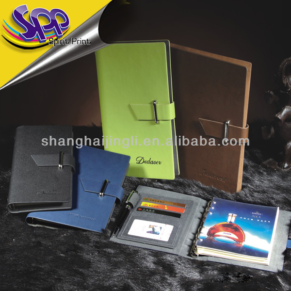 A5 Ring Binder Loose Leaf Soft Leather Cover Notebook