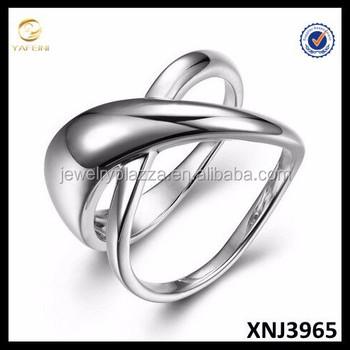 Plain Sterling Silver Ring X Shape Hot 925