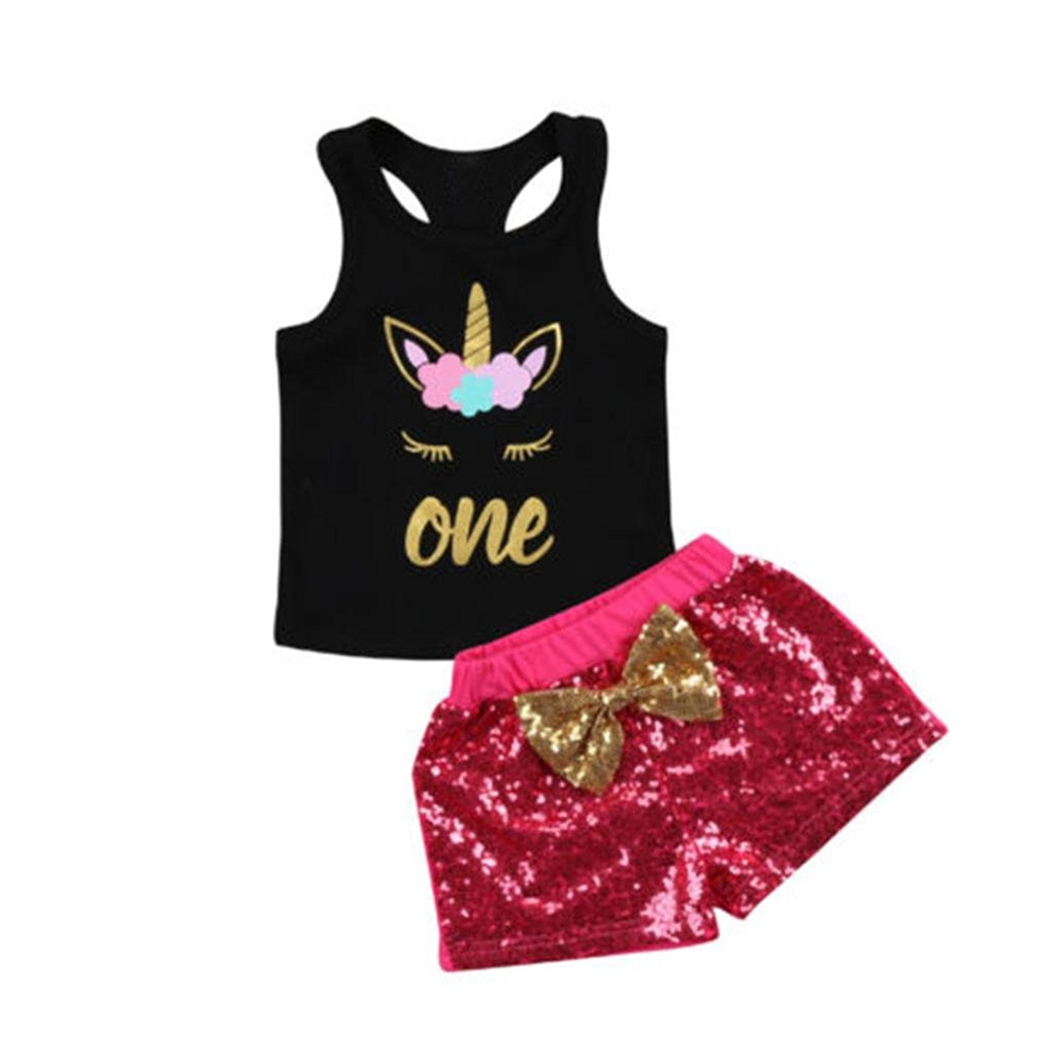 6f6459cd4c3 Get Quotations · Lavany Toddler Outfits 2PCS Kids Girl Unicorn Rackback  Tops Sequin Shorts Clothes Set