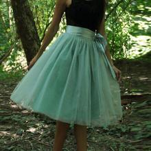 86ef474b9b5 Mint Green Women Tulle Skirt Plus Size Knee Length Midi Tutu Skirts for  Ladies with Sashes