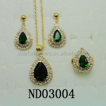 Latest Top Design Jodha Akbar Jewelry Set Big Green Stone & Mico Pave Crystal Necklace And Earrings Indian Bridal Jewelry Set