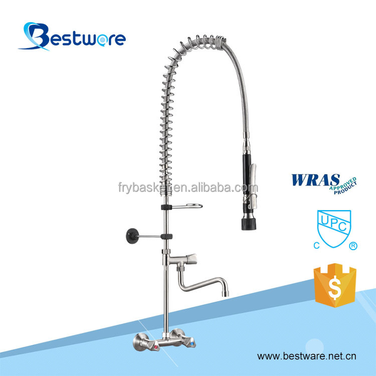 2018 About China Two In One Industrial Folding Hot Cold Water Mixer 304 Stainless steel Faucet Wall Tap