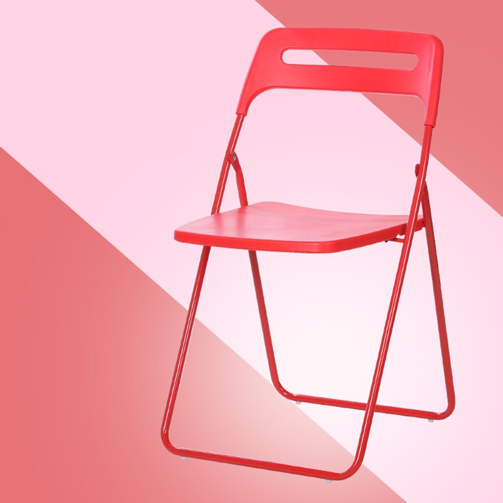 Folding chair / residential Student dorm simple folding chair / plastic portable office chair / simple Nordic dining chair ( Color : Red )