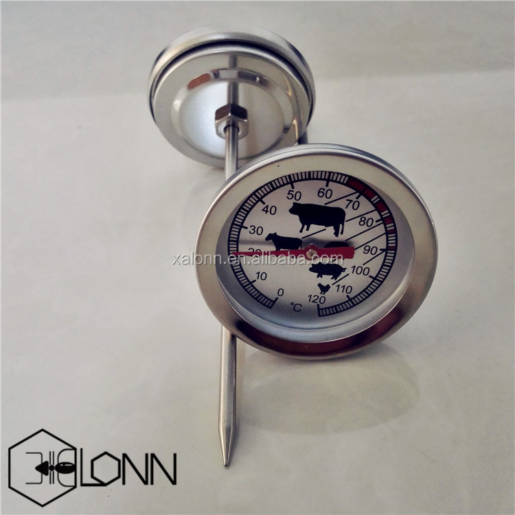 Analog meat bbq dial thermometer with animals printing