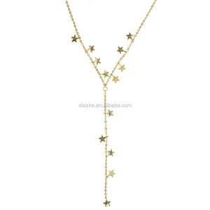 fashion long chain gold neckalce y shape clover necklace star charm necklace for wedding