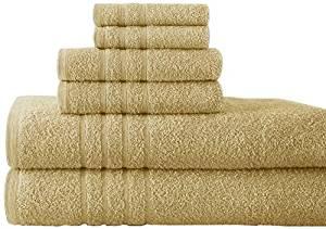 Pacific Coast Textiles Spa Collection Luxurious Egyptian Cotton 6PC Towel Set - Suede