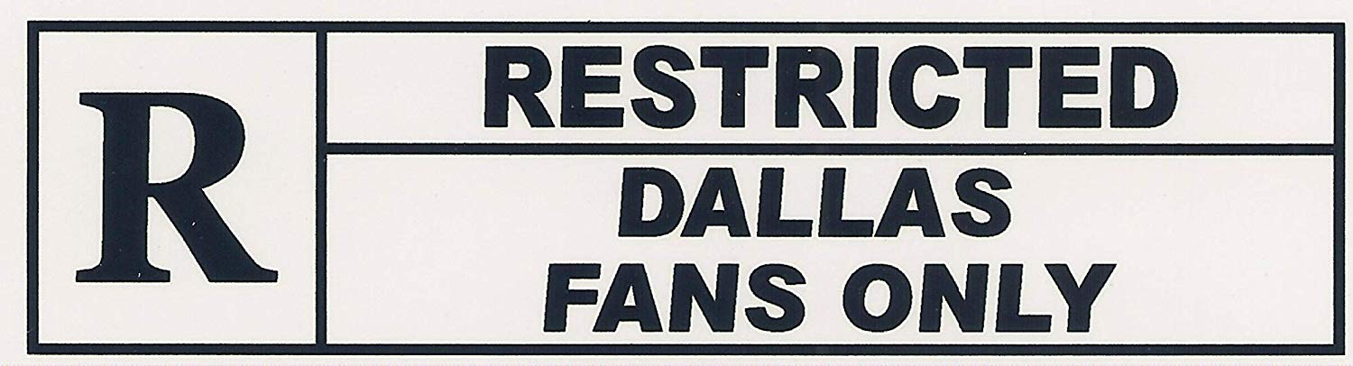 """RESTRICTED DALLAS FANS ONLY"". Funny Refrigerator Magnet.""FREE SHIPPING ON THIS ITEM"". This flexible magnet is available for quick shipping. Two sizes. Great Item."