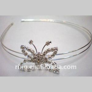 Silver bridal wedding butterfly style crystal metal alloy hair ornament / hair band jewelry