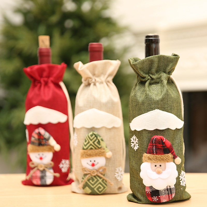Christmas Decoration Supplies Xmas Jute Wine Bottle Cover bag Set for Christmas.
