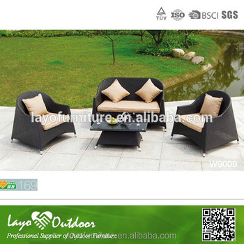 Factory Audit Ped Garden Sofa Setting For Outdoor Rattan Effect Set