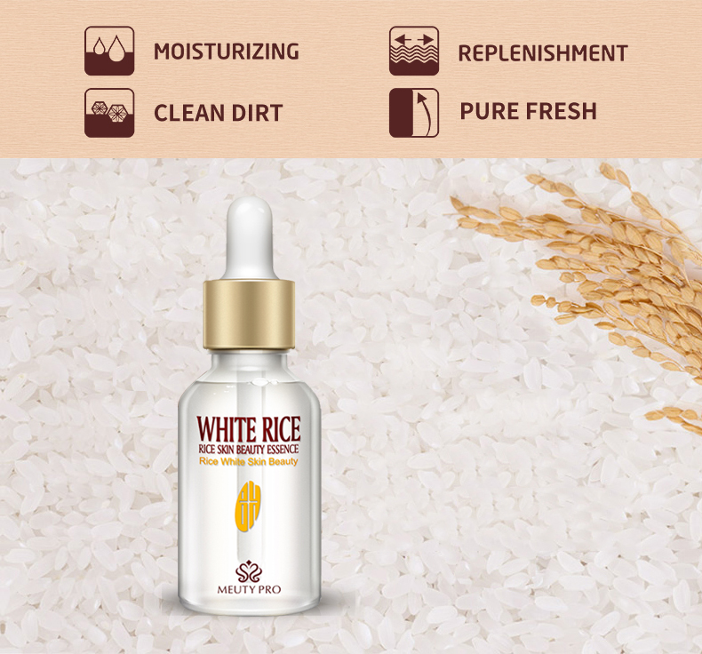 OEM Private Label White Rice Serum Natural & Organic Reduces Wrinkles Lightens Dark Spots Treatment Serum