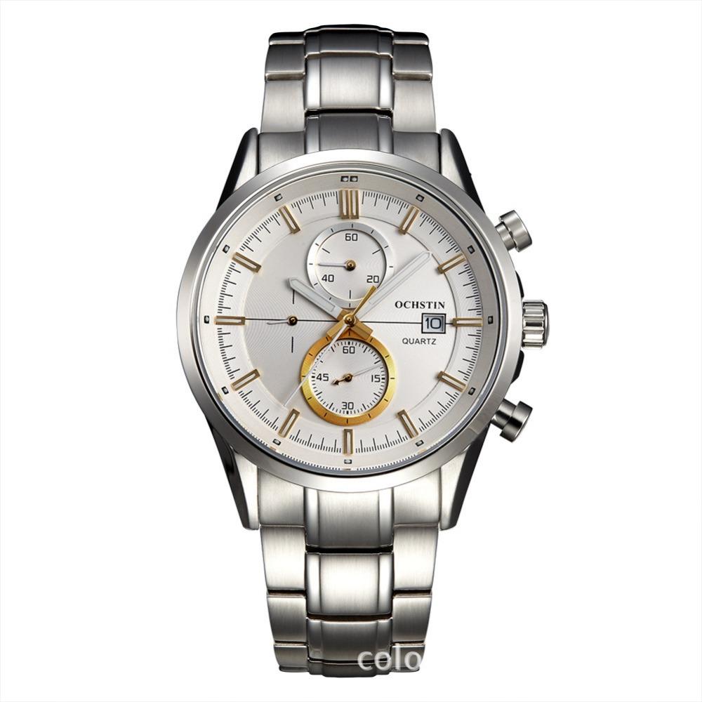 Ochstin GQ002 moda hombres de acero inoxidable reloj de cuarzo luminoso relojes  excelente hombre con calendario c0213a2e8bb7