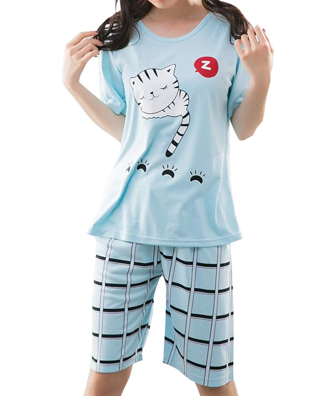 43ef0cf58037 Get Quotations · YUEXIN Big Girls Lovely Sleepy Cats Cartoon Loungewear  Summer Pajamas Nightwear