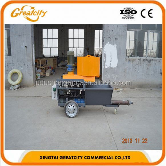 automatic piston diesel motor render cement pump machine/mortar plaster wall spraying cement pump machine