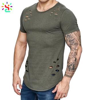 Custom Mens Distressed T Shirts Blank Hipster T Shirts