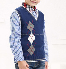 high quality wholesale argyle intarsia kids baby knit cotton vests