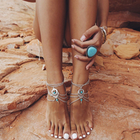 Antique Silver Color Anklet Women Big Blue Stone Beads Bohemian Ankle Bracelet cheville Boho Foot Jewelry