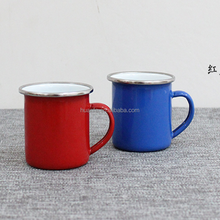 Hot selling chilren's camping enamelware sets 6CM tin enamel mug with stainless steel rim