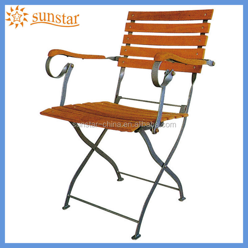 Antique Style Foldable Metal Frame Teak Wood Garden Chair L82806 wtih Armrest