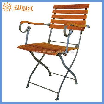 Antique Style Foldable Metal Frame Teak Wood Garden Chair L82806 Wtih Armrest