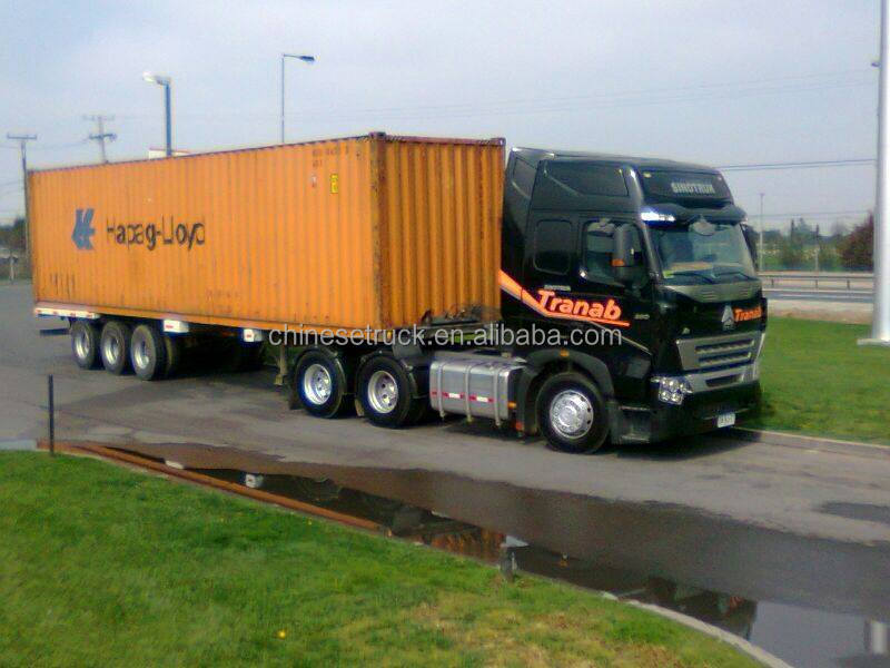 Tractor Trailer Head On : Hp howo a tractor head with lowboy semi trailer