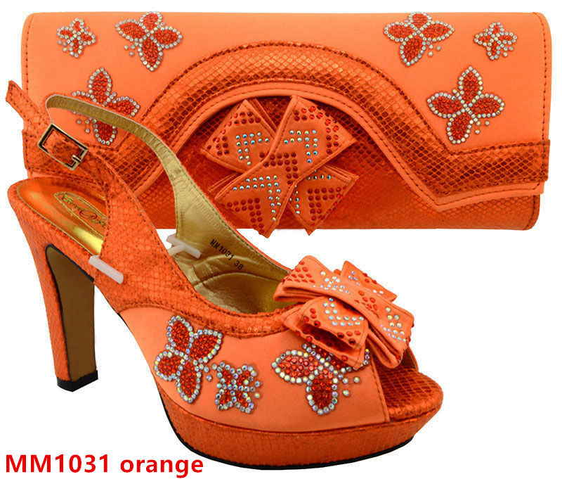 party bag set Orange 2017 african shoes matching bag for Italian shoes and HPH6WFXzq