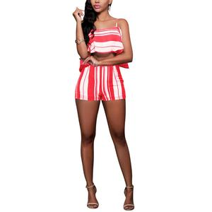 Red Cute Women's Rompers And Jumpsuits Fleet Striped