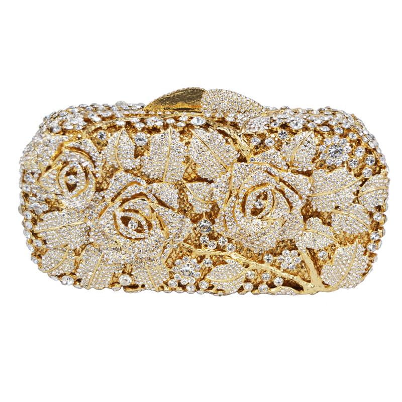 luxury crystal clutch evening bag golden rose flower party purse women wedding bridal handbag. Black Bedroom Furniture Sets. Home Design Ideas