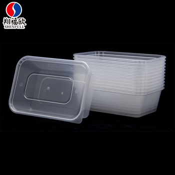Food Grade Hd Plastic Containers With Attached Lids Takeout Packaging Bo