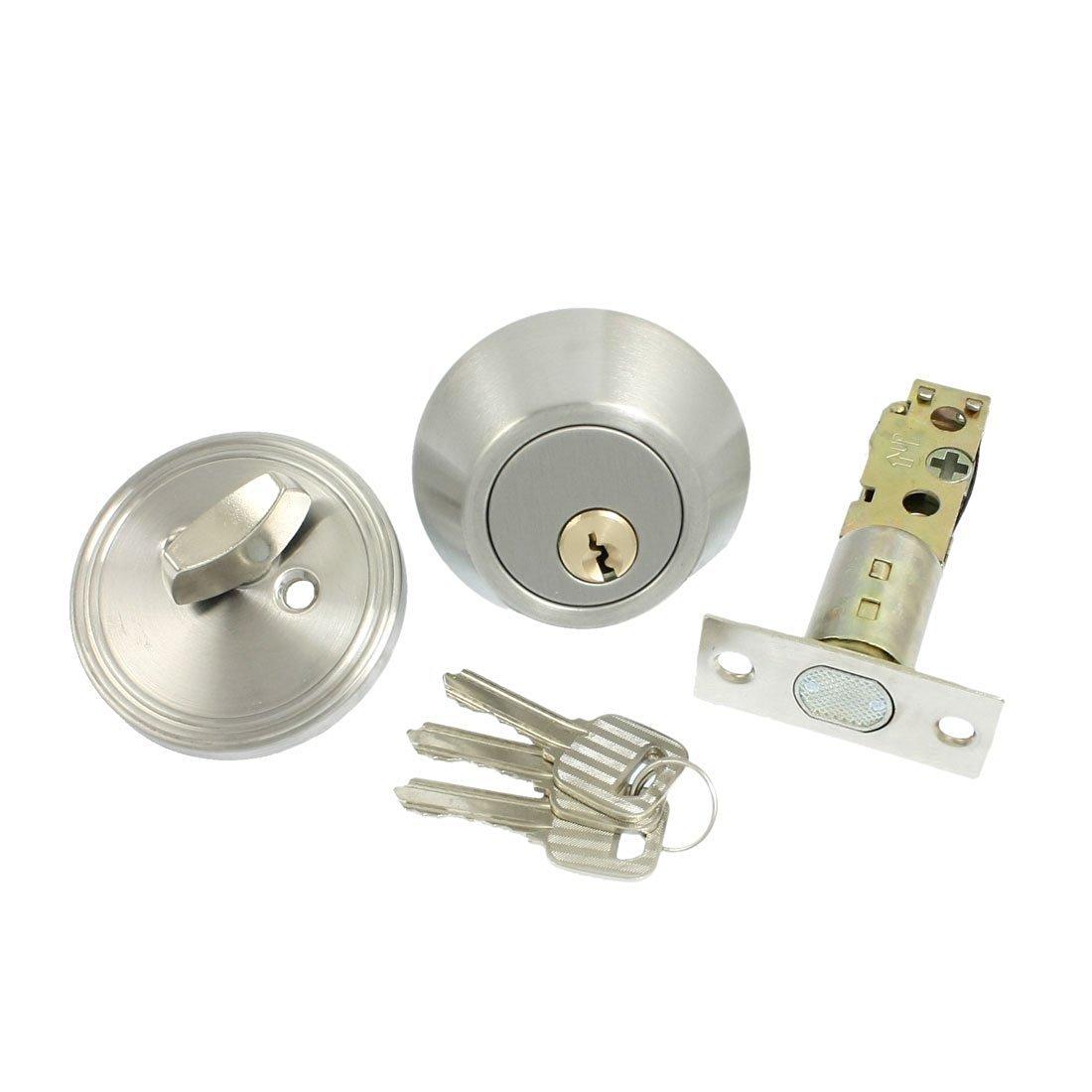 TOOGOO(R) Home Door Locking Security Single Cylinder Deadbolt Lock Silver Tone