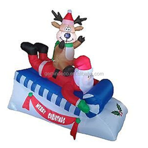 Blow up yard decorations reindeer seated back santa claus playing skis outdoor nativity inflatable