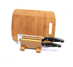 bamboo cutting board set stand with holder and groove