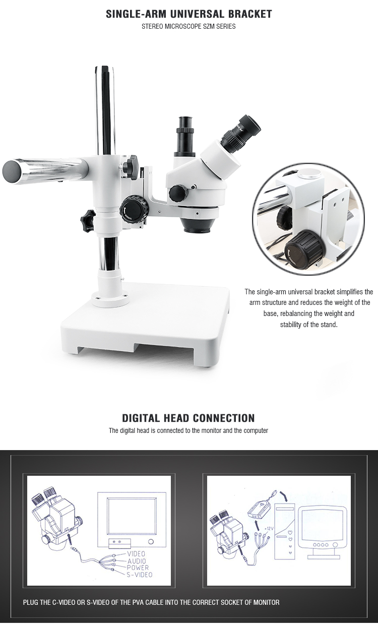 BAKU ba 009T mini adjustable operating stereo digital trinocular microscope stand with camera video