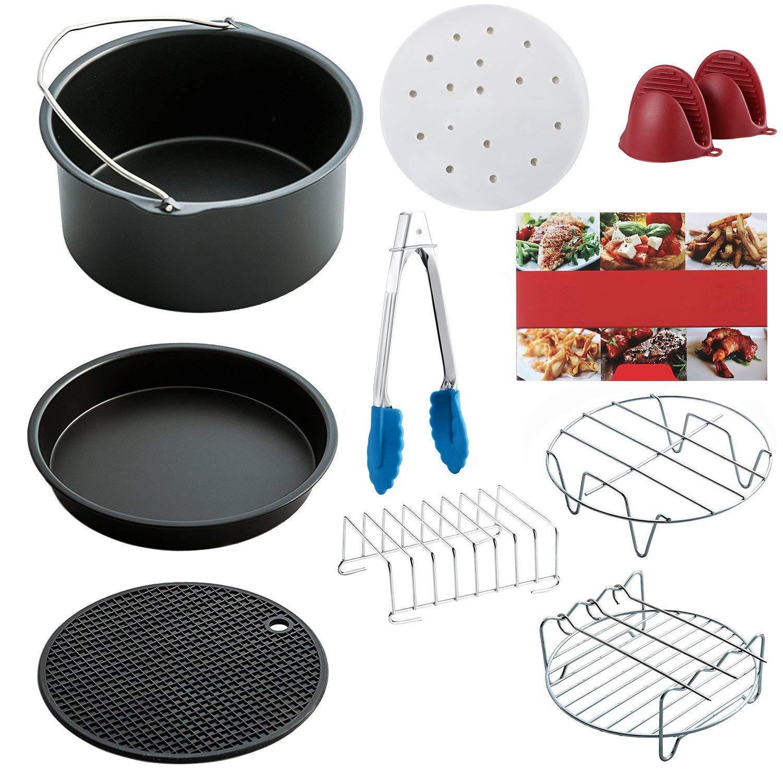 SODIAL Air Fryer Accessories t of 10 pcs, Fit all Standard Air Fryer 3.7QT- 5.3QT- 5.8QT, 7 Inch