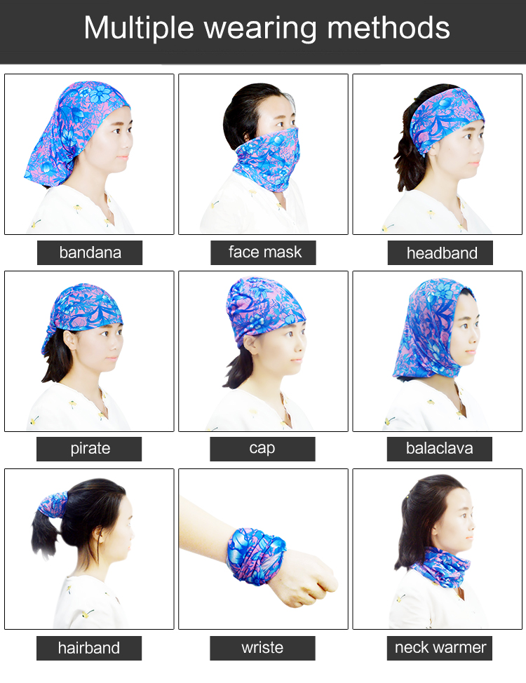quick dry breathable seamless tubular headwear custom sports headwear bandana