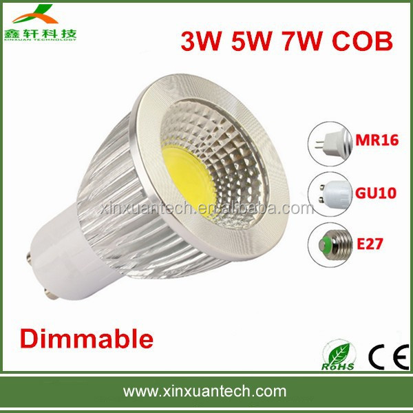 Dimmable 5W COB GU10 rechargeable led spotlight