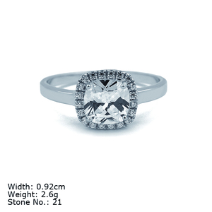 925 sterling silver radiant diamond shaped ring