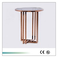 Goolee Home Furnishings Stainless Steel End Table With Glass Top